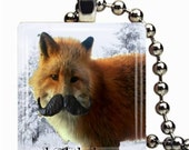 Fox with Mustache Necklace on Glass tile - Includes chain - Buy any 3 and get 1 more - fox pendant,fox necklace