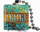 Nana Pendant - Includes 925 plated over bronze 925 plated snake chain - Glass tile pendant - Glass tile necklace