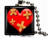 Heal my heart Glass tile  1 inch pendant  - Includes 925 plated over bronze ball chain - Buy any 3 and get 1 free