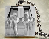 Ballerina shoes Black and white Glass tile Pendant - Includes ball chain - Buy any 3 and get 1 Free