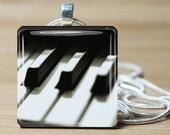 Piano Necklace on Glass tile - Includes chain -- Buy any 3 and get 1 more