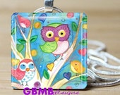 Watercolor colorful Owl Family Necklace on 1 inch Glass tile - Includes 925 plated over bronzel chain -- Buy any 3 and get 1 more