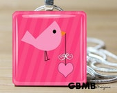 Glass tile pendant - You've got mail Little Pink bird with a heart -Includes Ball chain - Buy any 3 and get 1 Free
