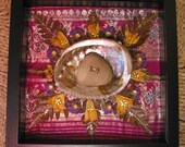 Nature Mandala - Mixed Media Collage-OOAK  framed original artwork