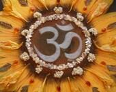 Sunflower Mandala - Mixed Media Collage -OOAK  framed original artwork