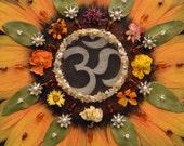 Sunflower Mandala II, Mixed Media Collage, OOAK framed original artwork