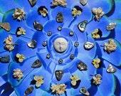 Full Moon Nature Mandala - Mixed Media Collage with Original Photography - OOAK framed original artwork