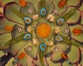 "Green ""Lotus"" Nature Mandala - Mixed Media Collage with Original Photography - OOAK  framed original artwork"
