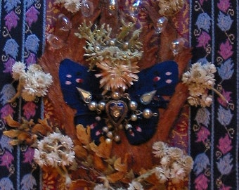 Royal Butterfly Angel - Mixed Media Collage - OOAK  framed original artwork