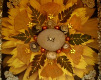 Joy Mandala- Mixed Media Nature Collage- OOAK  framed original artwork