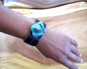 Turquoise Howlite Leather Cuff Bracelet - Stone and Leather - Mens Gift idea - Hipster Bracelet
