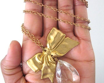 Sabine Necklace - Brass Bow, Faceted Crystal Chandelier Drop Necklace - ready to ship