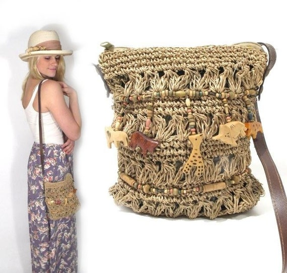 A Tiny Safari.  Vintage Woven Straw Petite Cross-Body Woven Straw Bag with Wooden Animals.