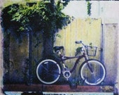 Red Bicycle... Polaroid Transfer on Wood Block