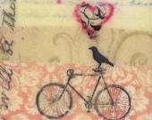 "Original Encaustic Painting,  - ""Bike Ride"" By Angela Petsis"