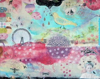 "Angela Petsis Art, Original Mixed Media Painting, Children's Art , Whimsical Painting - "" Its Always Summer Here"", 18""x18"""