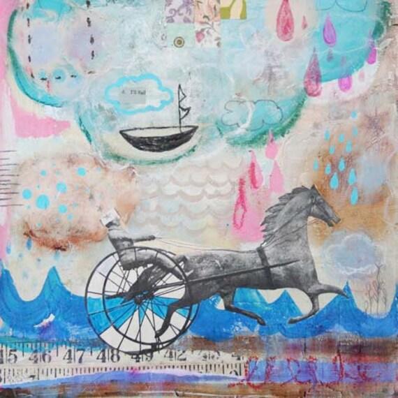 """STORE CLOSING SALE - Whimsical Original Mixed Media Painting - """"I'll Sail"""""""