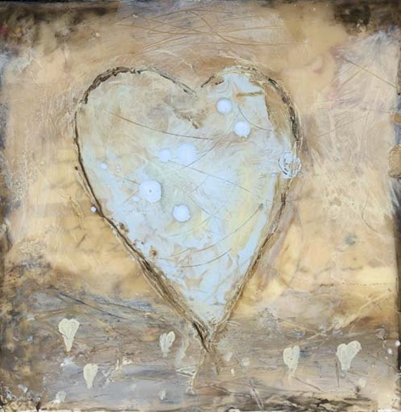 STORE SALE - 15 Percent Off Coupon, Original Encaustic Painting, Mixed Media Painting - My Blue Heart
