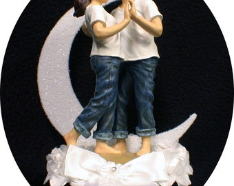 FOREVER in Blue JEANS Beach Wedding Cake topper Outdoor