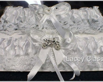 2 Dirt bike Motorcycle wedding Bridal garter ONLY ! lot toss Off Road EXTRA ITEMS cab be added