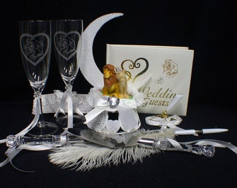 Lion King DISNEY Wedding Cake Topper LOT Glasses Knife guest book garter