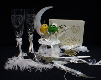 M&M and M candy Wedding Cake topper Lot Glasses knife Server Guest book Garter