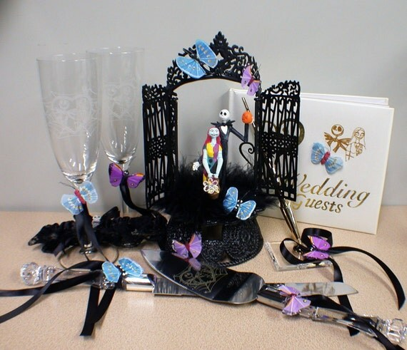 Items similar to nightmare before christmas wedding cake topper lot