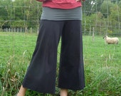 Womens Organic Clothing - Wide Leg Gauchos - Organic Cotton - Shown in Black with Slate Waist - Made to Order