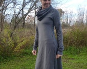 Organic Clothing - Cowl Neck Midi Dress - Organic Cotton - Shown in Storm - Made to Order
