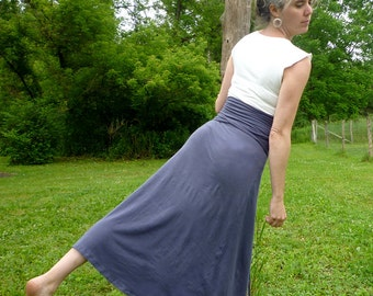 Organic Clothing - Versatility Skirt - Organic Cotton - Shown in Steel - Choose Your Color