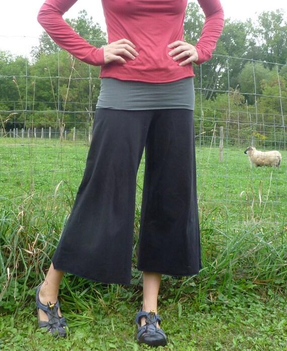 Womens Organic Clothing Wide Leg Gauchos Organic Cotton Bamboo Maternity Pants Yoga Eco Fashion Culottes Petal Pants Lululemon Made to Order