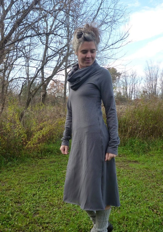 Organic Clothing Cowl Midi Dress Organic Cotton Outdoor Hiking Dress Slow Fashion Eco Conscious Natural Dyes Hippie Woodland Party Dress
