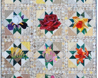 Art Quilt Pattern - All TWELVE patterns- PDF - Floral Applique Quilt Pattern Series