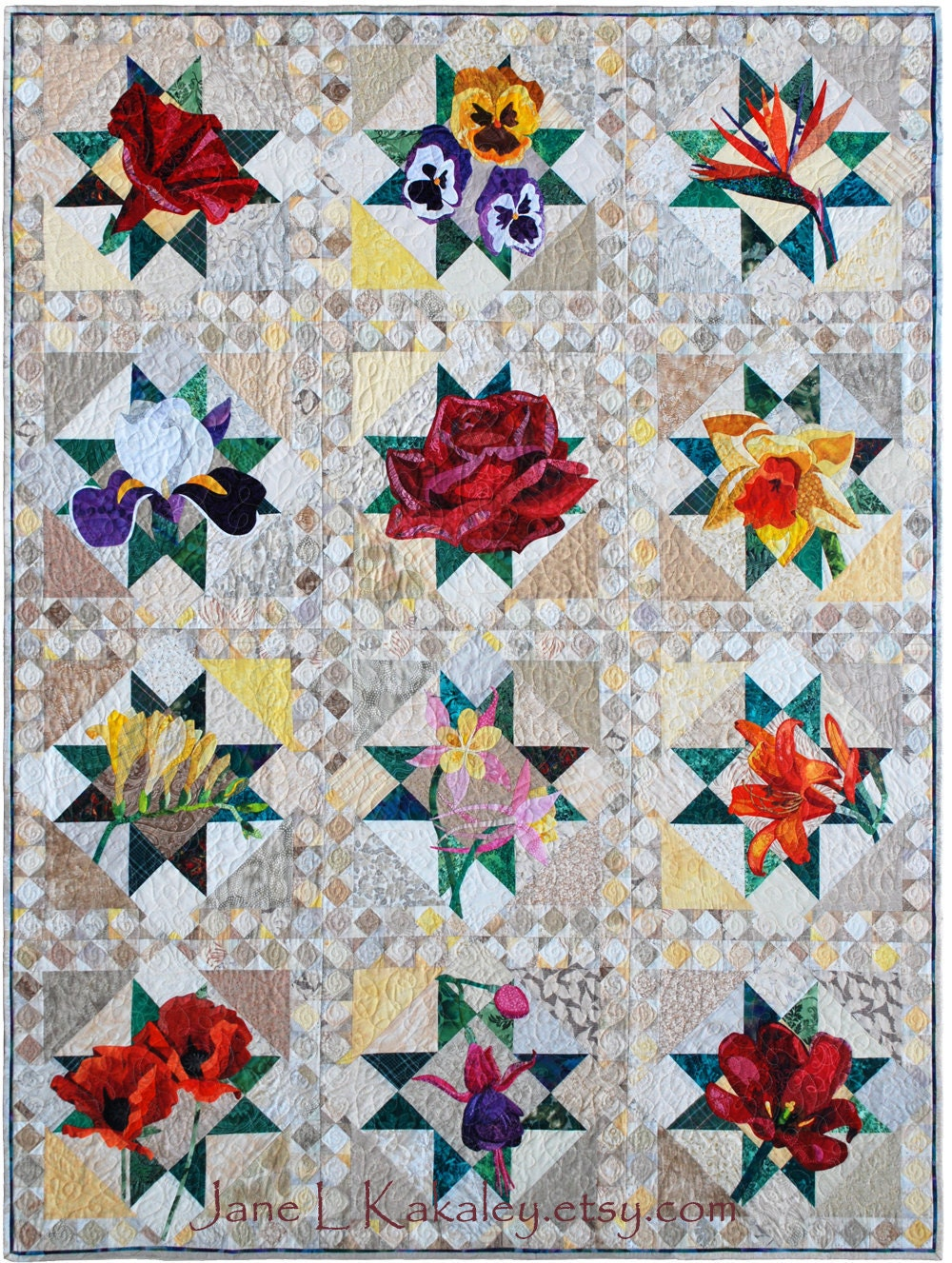 Free Star Flower Quilt Patterns : Art Quilt Pattern All TWELVE patterns PDF Floral Applique
