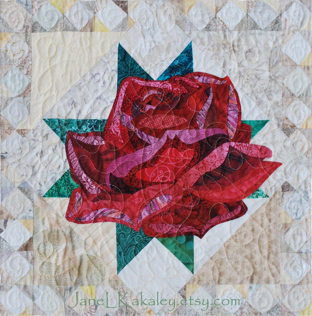 Pattern Art Quilt Rose Applique Quilt Immediate Download
