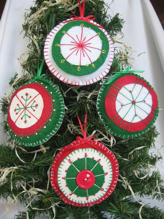 Felt Christmas Tree Ornaments Handstitched Penny-rug style