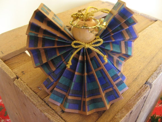 Paper Angel Christmas Ornament Blue Green and Gold Plaid Paper Ribbon Angel Ornament