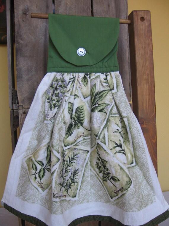 Herb print Kitchen Towel Hanging Kitchen Towel Herb Theme