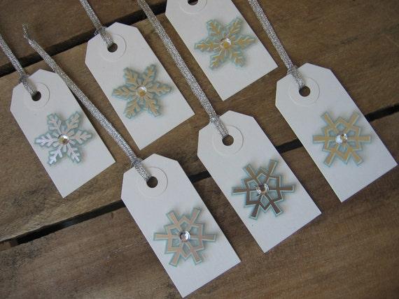 Blue and Silver Snowflake Gift Tags Set of 6 Christmas Snowflake Gift Tags