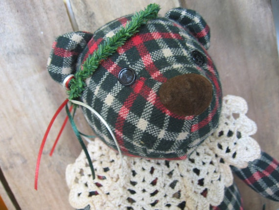 Embellished Gund Holiday Bear Red and Green Plaid Vintage Gund Bear for Christmas Decoration