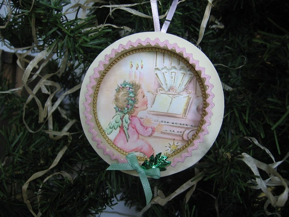 Upcycled Christmas Card and Ribbon Spool Ornament Vintage Angel Pink and Green Ornament
