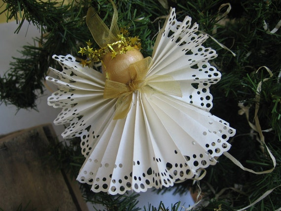 Angel Christmas Tree Ornament White Paper Lace Ribbon and Gold Angel Christmas Ornament