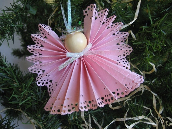 Angel Christmas Tree Ornament Pink Paper Lace Ribbon Angel Christmas Ornament