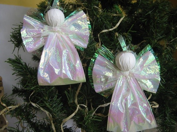 Angel Christmas Ornaments Set of 2 Iridescent White Paper Ribbon Angel Tree Ornaments