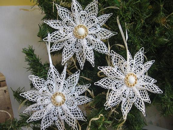 White Lace Snowflake Christmas Tree Ornament White Snowflake