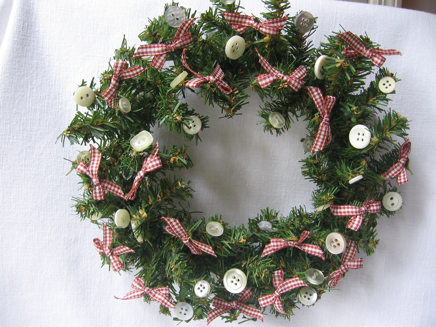Small Christmas Wreath Country Bows And Buttons By