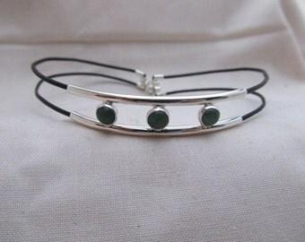 silver, adventurine bracelet and,or anklet
