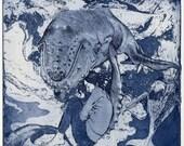 Whale Dreams - Original print, intaglio etched