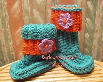 Buggs - Crochet Baby Booties in Teal  w/ Detachable Coral Band and Accent Flower