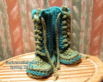 Buggs -  Crochet Lace Up Baby Booties Color Block Palette in Teal/Green